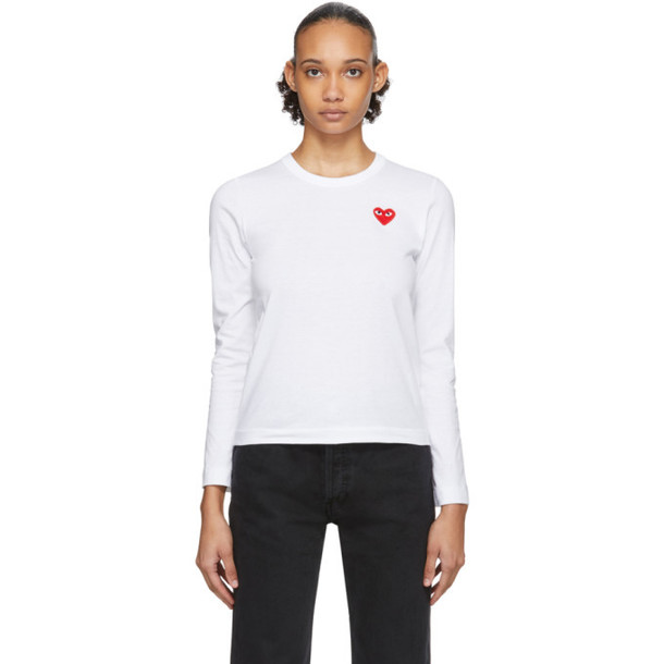 Comme des Garcons Play White Heart Patch Long Sleeve T-Shirt