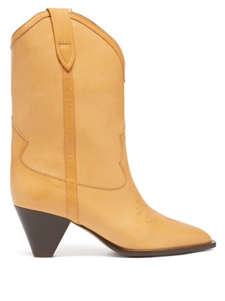 Isabel Marant - Luliete Topstitched Leather Ankle Boots - Womens - Beige