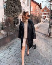 coat,leather coat,double breasted,flats,mini skirt,turtleneck sweater,pink sweater,black bag,handbag,faux leather