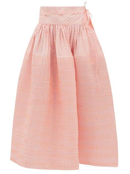 Horror Vacui - Toga Swiss-dot Cotton Skirt - Womens - Pink