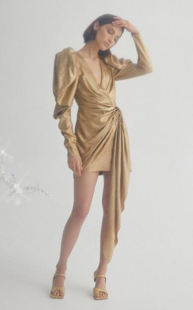 Acler Llewyn Puffed Shoulder Ruched Mini Dress in gold