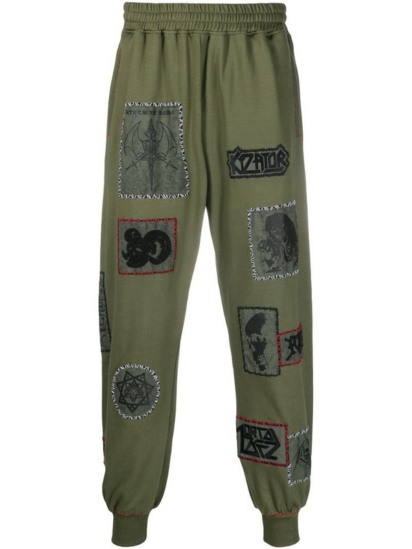 KTZ patch-detailed track pants in green