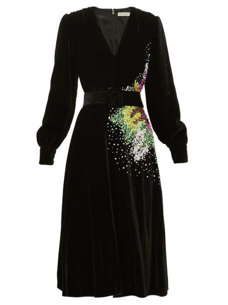Mary Katrantzou - Theresa Sequin-embellished Velvet Midi Dress - Womens - Black Multi
