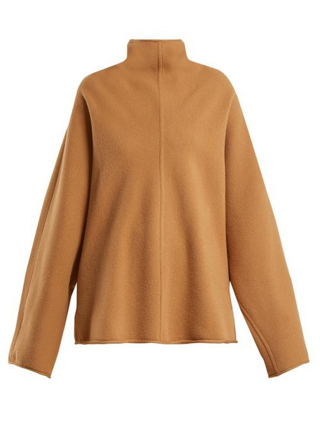 Roksanda - Keru High Neck Wool Sweater - Womens - Beige