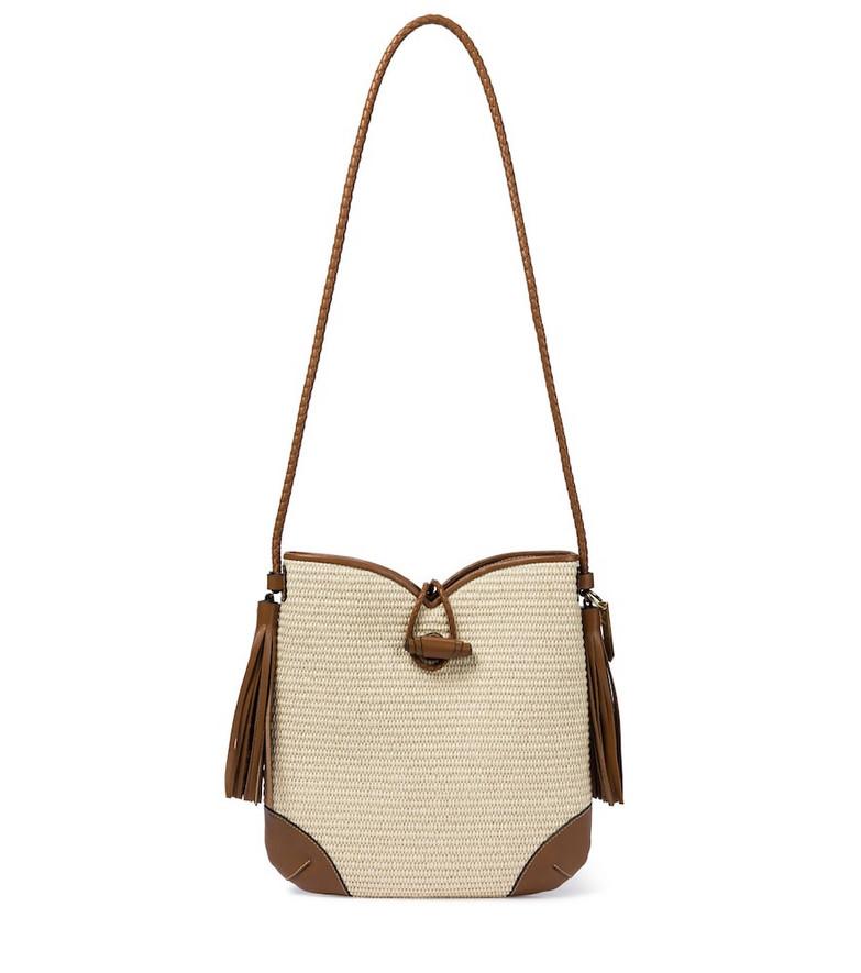 Isabel Marant Tyag leather-trimmed raffia shoulder bag in beige