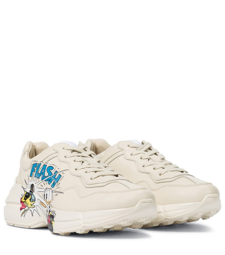 Gucci x Disney® Rhyton leather sneakers in white