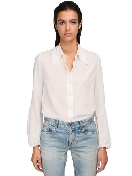 SAINT LAURENT Silk Crepe De Chine Shirt in white
