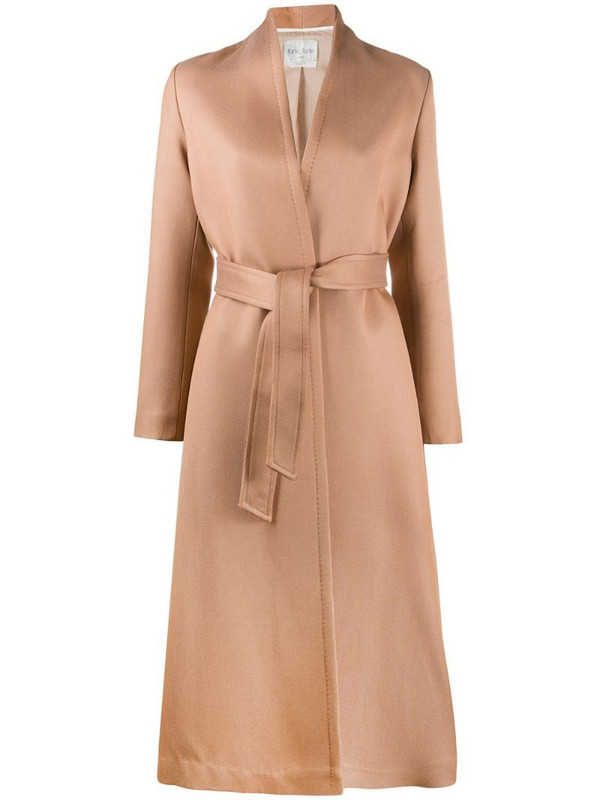 Forte Forte belted long-sleeve coat in neutrals