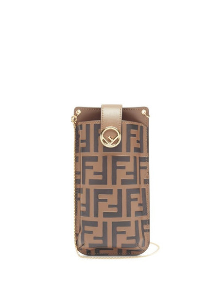Fendi - Ff-logo Print Leather Phone Pouch - Womens - Black Brown