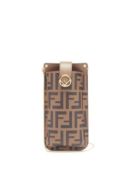 Fendi - Ff-logo Print Leather Phone Pouch - Womens - Black Brown