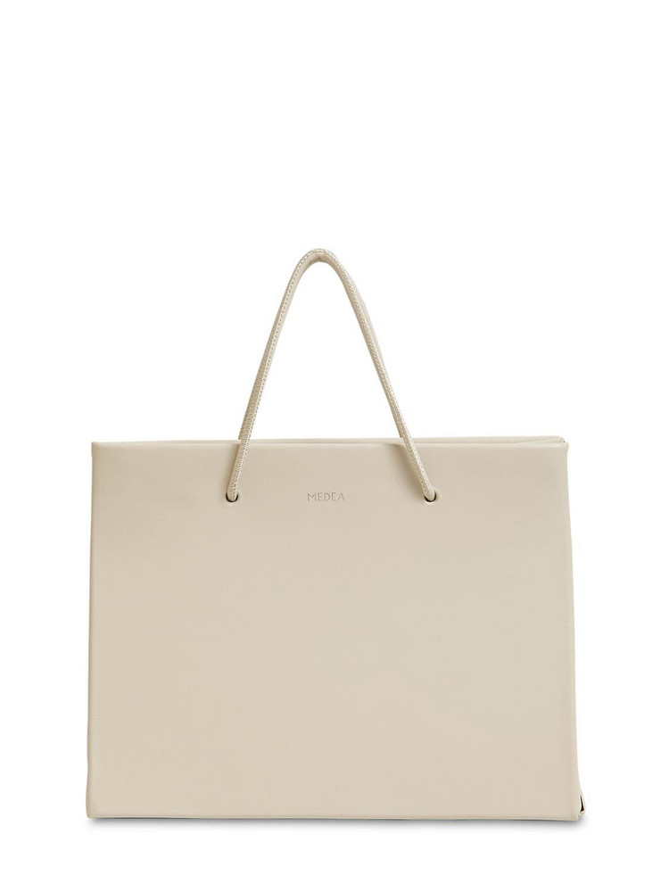MEDEA Hanna Leather Top Handle Bag in ivory