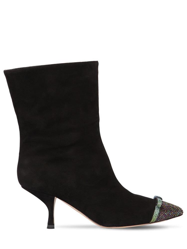 MARCO DE VINCENZO 60mm Swarovski Suede Ankle Boots in black / multi