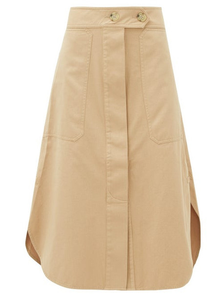 Lee Mathews - Patch Pocket Organic Cotton Midi Skirt - Womens - Camel