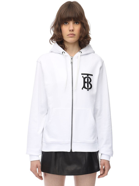 BURBERRY Tb Logo Zip-up Cotton Jersey Hoodie in white