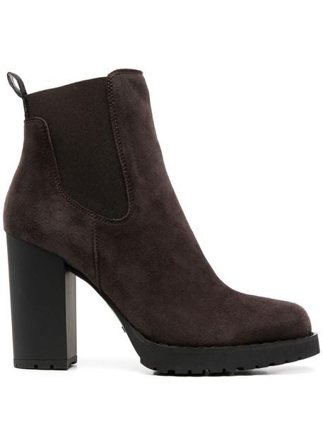Hogan suede high heel boots in brown