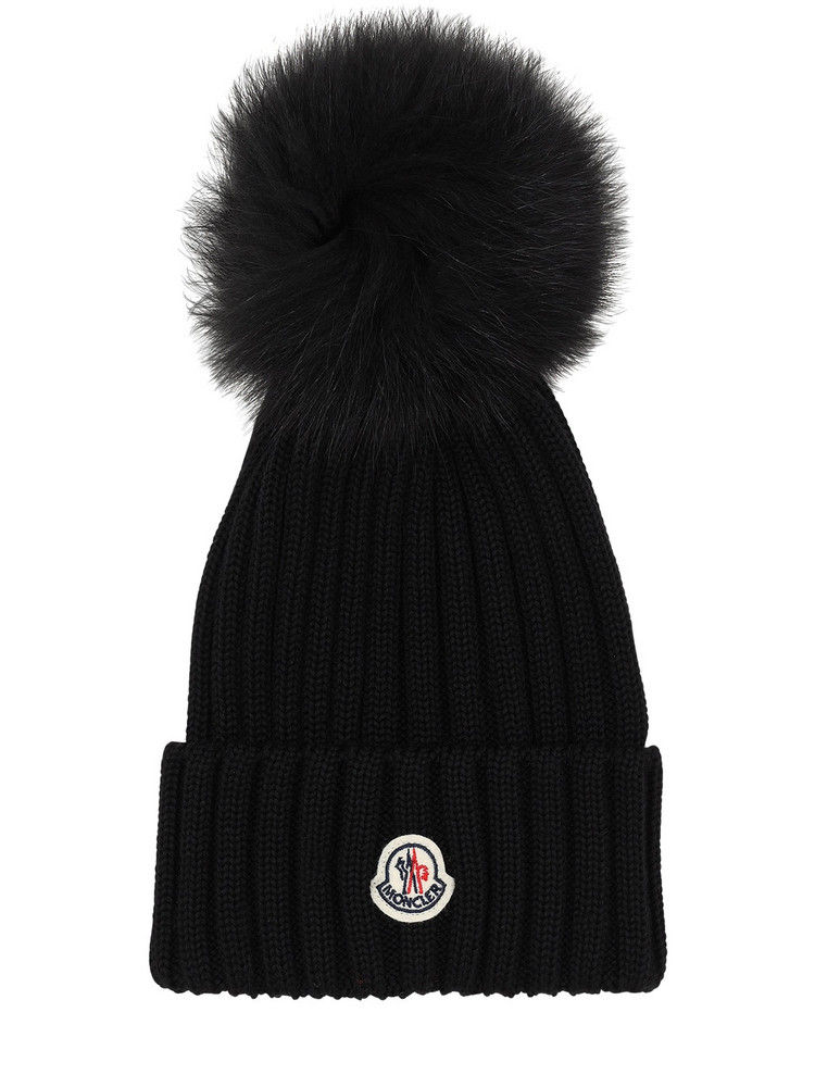 MONCLER Wool Knit Hat W/ Fur Pompom in black