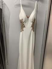 dress,white and gold long prom dress