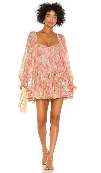 HEMANT AND NANDITA x REVOLVE Bloom Babydoll Dress in Coral in pink