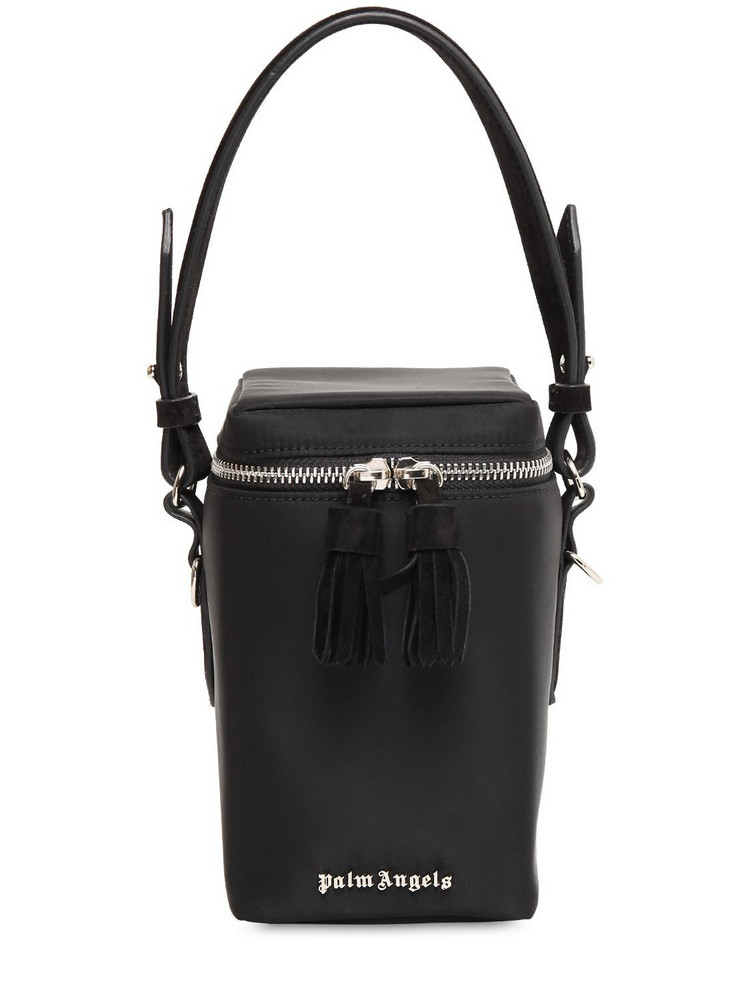PALM ANGELS Nylon Top Handle Box Bag in black