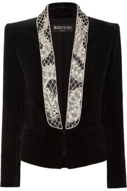 Balmain - Cropped Bead-embellished Velvet Blazer - Black
