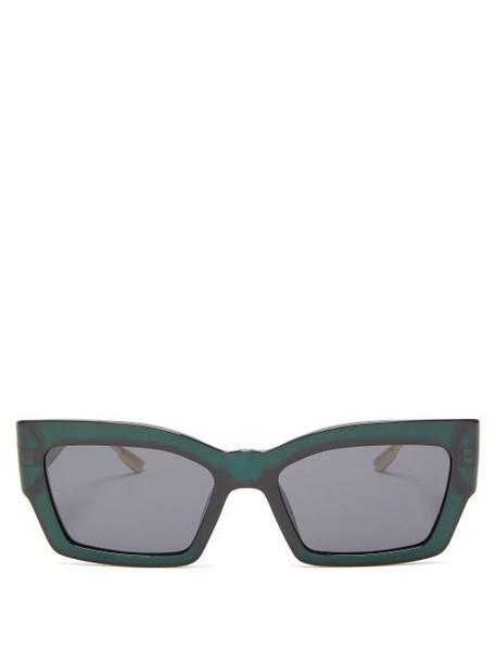 Dior Eyewear - Catstyledior2 Rectangular Acetate Sunglasses - Womens - Green