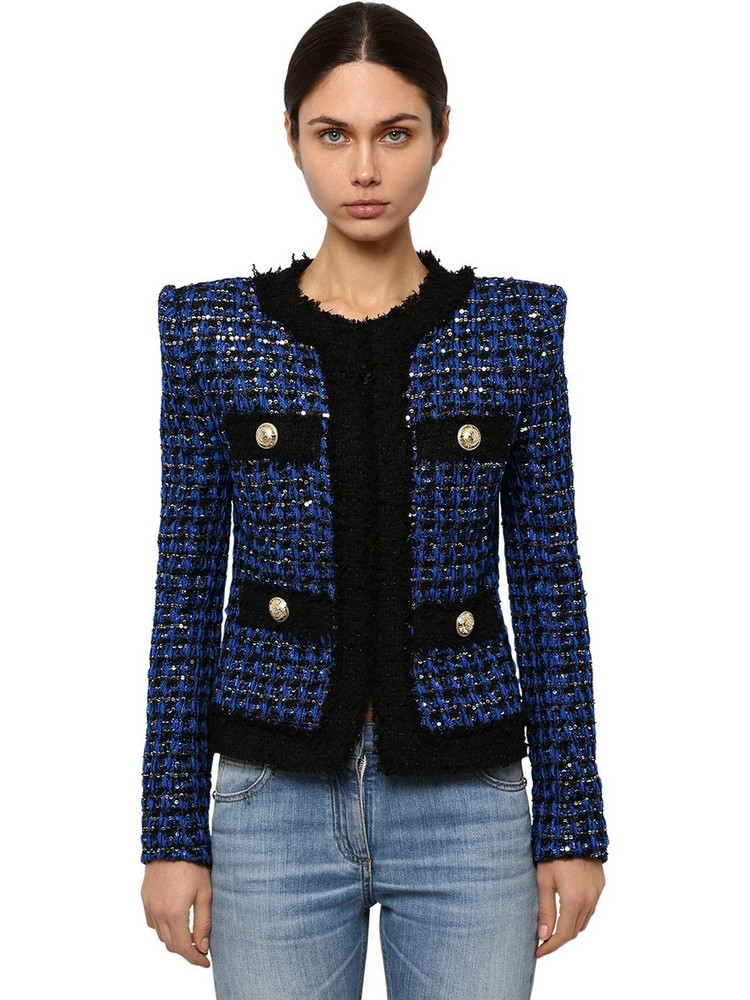 BALMAIN Embellished Techno Tweed Jacket in black / blue