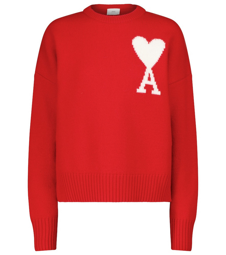 AMI PARIS Exclusive to Mytheresa – Ami de Cœur wool sweater in red