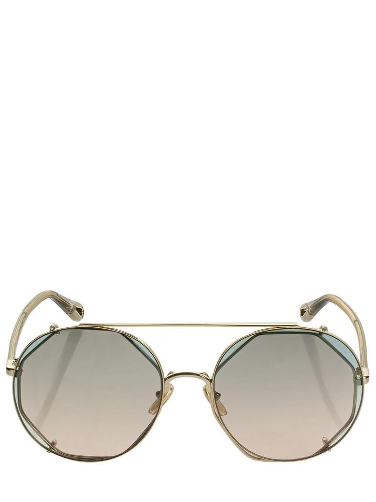 CHLOÉ Demi Round Metal Sunglasses in gold