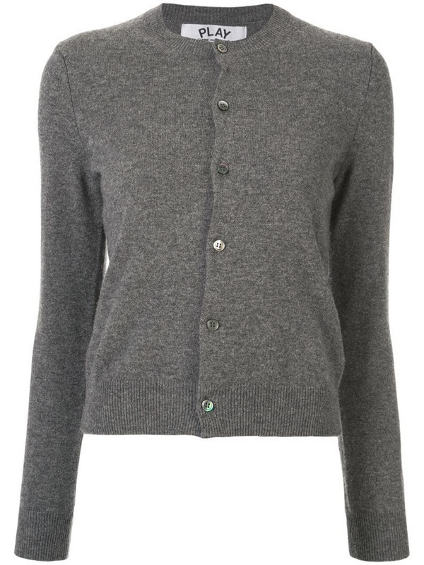 Comme Des Garçons Play logo embroidered buttoned cardigan in grey