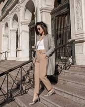 coat,grey coat,slingbacks,snake print,high waisted pants,zara,tank top,white top,crossbody bag