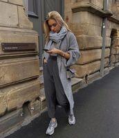 coat,grey coat,h&m,sneakers,high waisted pants,scarf,crossbody bag,sweater