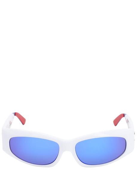LE SPECS The Edge Mirrored Sunglasses in blue / white