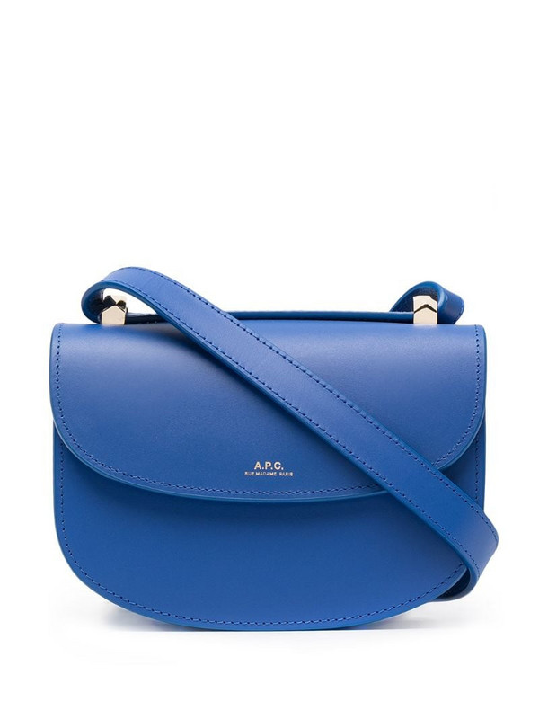 A.P.C. logo-print crossbody bag in blue