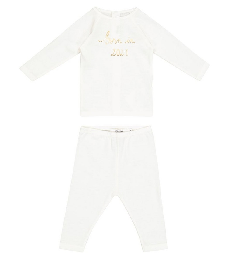 Bonpoint Baby cotton top and pants set in white