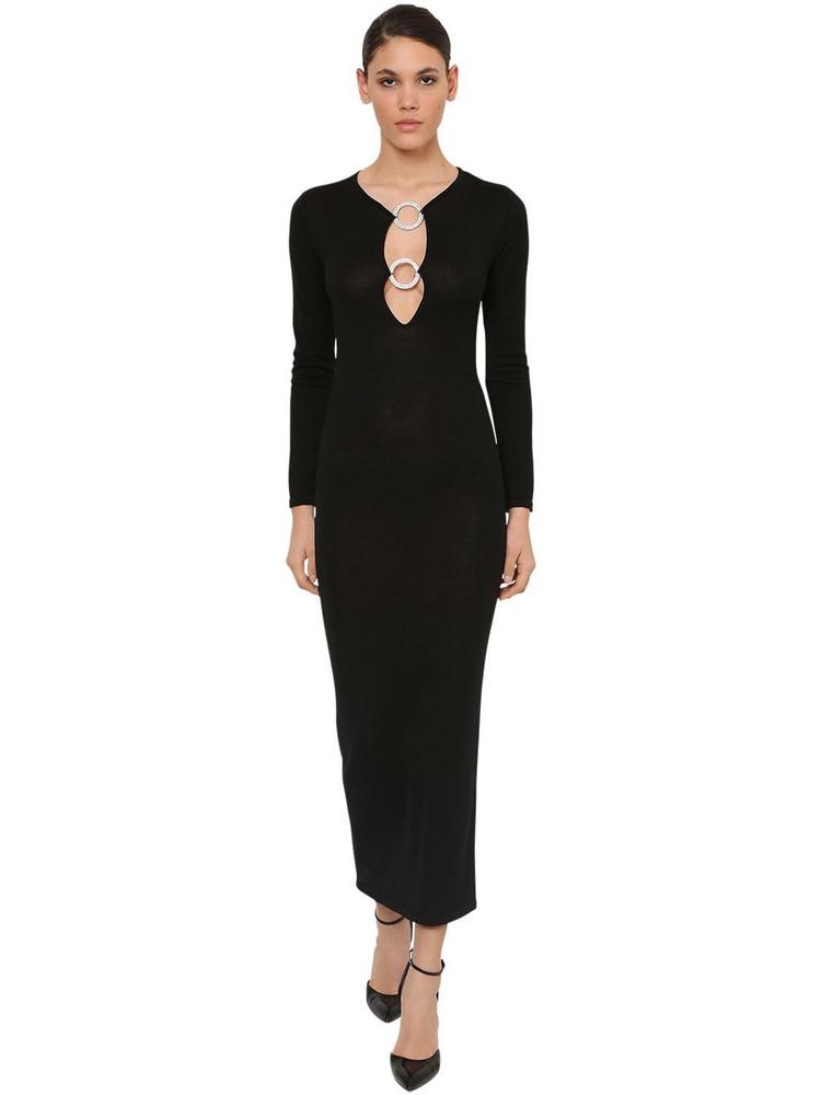 AZZARO Wool Knit Midi Dress W/crystal Detail in black