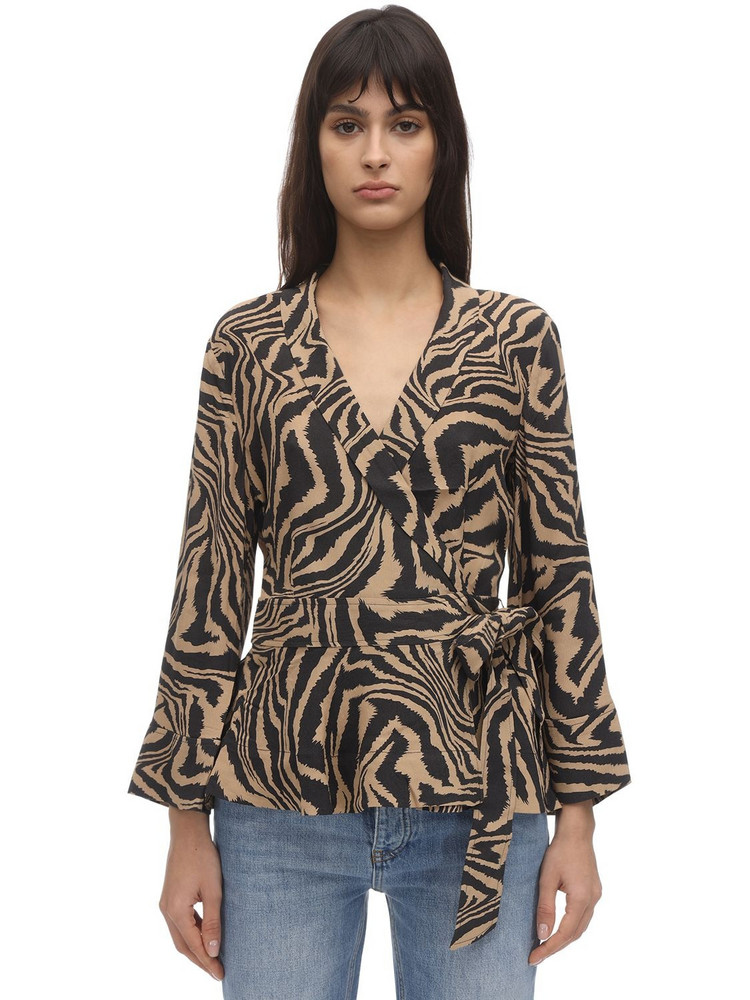 GANNI Printed Crepe Wrap Shirt in black / brown