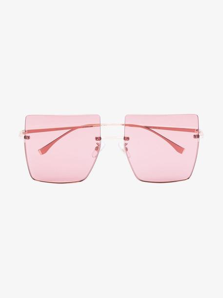 Fendi gold tone square frame sunglasses in metallic