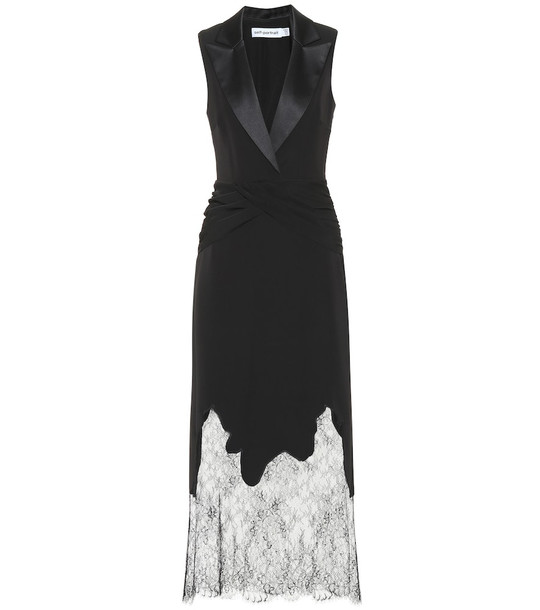 Self-Portrait Lace-trimmed maxi dress in black