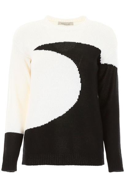 Valentino Moon Intarsia Pullover in nero / white