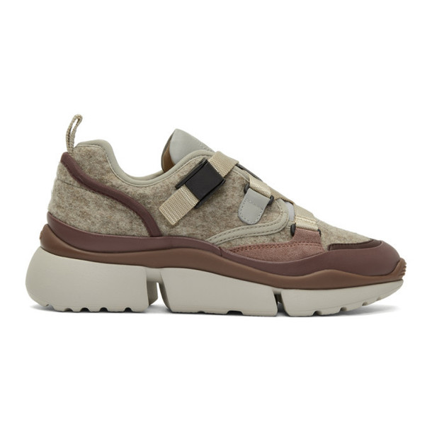 Chloe Grey and Brown Sonnie Sneakers