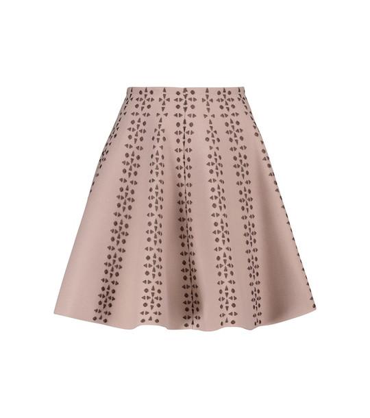 Alaïa Flared jacquard miniskirt in beige