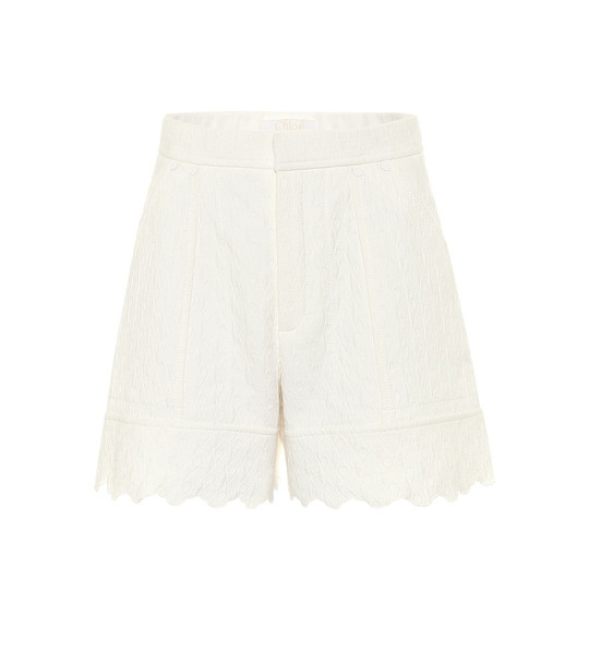 Chloé Quilted cotton jacquard shorts in white