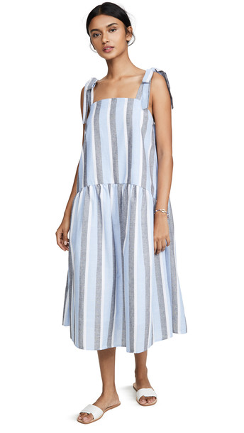 ENGLISH FACTORY Curved Hem Striped Dress in blue