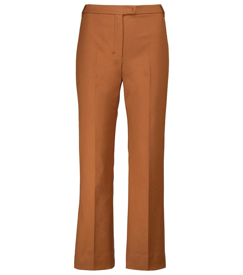 S Max Mara Lesena stretch-cotton cropped pants in brown