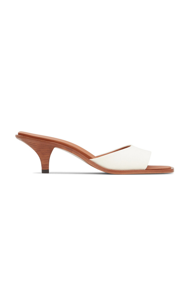 Neous Cygnus Canvas-Trimmed Leather Sandals in white