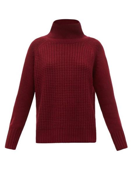 Nili Lotan - Houston Roll-neck Waffle-knit Cashmere Sweater - Womens - Burgundy