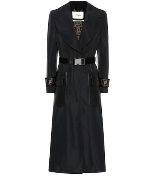 Fendi Leather-trimmed faille trench coat in black