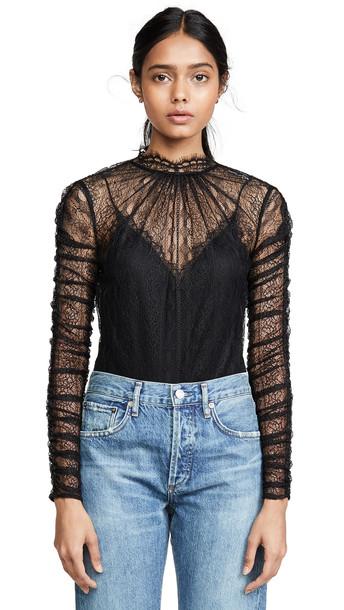 Jonathan Simkhai Lingerie Lace Thong Bodysuit in black