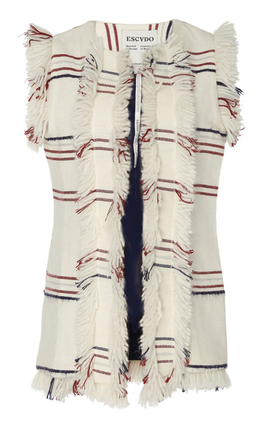 Escvdo Maki Suri Handwoven Vest With Double Fringe Lapel Detail in white