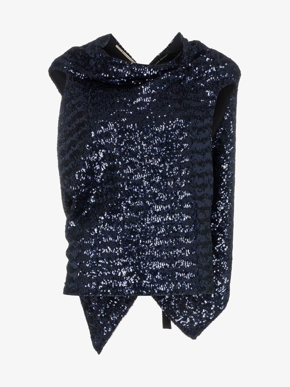 Roland Mouret eugene sequin embellished silk top in navy